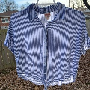Mossimo blue and white button stripe shirt Xs